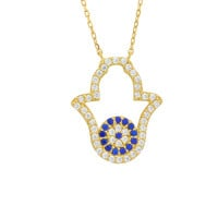Sterling Silver Hamsa Hand of God Pendant Necklace Yellow Gold Plated