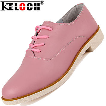 2016 Cow Split Leather Women Shoes Casual Oxford Shoes For Women Flats Shoes Ladies Lacing Pink Zapatos Mujer