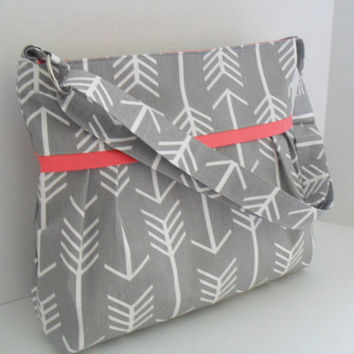Diaper Bag - Gray Arrow - Arrow Diaper Bag - Crossbody - Messenger Bag - Gray Diaper Bag - Coral