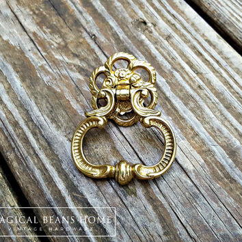 French Vintage Dresser Pulls French Country Gold Teardrop Drawer Pulls KBC Ring Pulls Baroque Brass Drawer Pulls Handles Cabinet Pulls