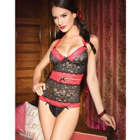 On Sale Hot Deal Cute Double Color Sexy Lace See Through Exotic Lingerie [6595579075]