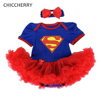 Blue Superman Baby Clothes Short Sleeve Girl's Lace Romper Dress Headband Set Halloween Party Outfits Vestido Bebe Kids Costumes