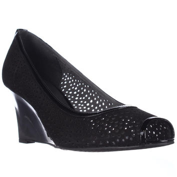 Stuart Weitzman Nudotcomer Perforated Peep Toe Wedge Pumps - Black