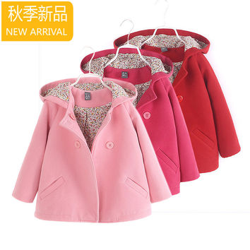 new fashion kids Children clothing baby girls princess double breasted with a hood woolen overcoat trench girls wool dress coat