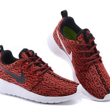 custom nike roshe yeezy boost 350 run sneakers dark red color athletic running womens shoes as is or blinged with swarovski crystals