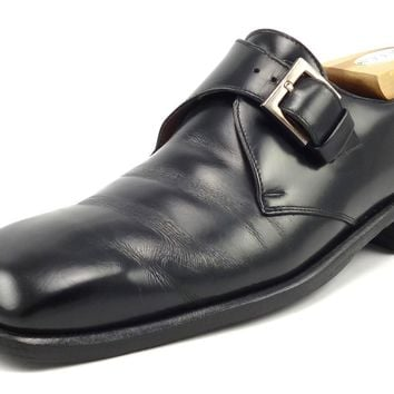 Gucci Mens Shoes Size 8 US Leather Plain Toe Monk Straps Black