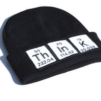 Think Periodic Table Black Science Beannie by YellowBugBoutique