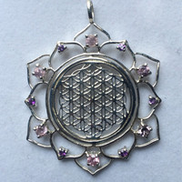 Sacred Geometry ~ Flower of Life in Lotus with 12 Pink Sapphire and Amethyst Gems in 925 Sterling Silver