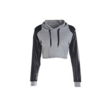 Fashionable Faux Leather Spliced Sleeve Short Hoodie For Women