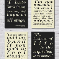 Instant Download! Downton Abbey Quotes, Set of 4 8x10 Prints, Violet Crawley, Mr. Carson, Dowager Countess of Grantham, Mrs. Hughes