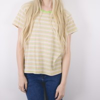 Vintage Boxy Striped Green T Shirt Blouse