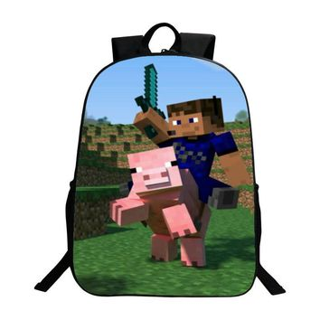 New Arrivals Oxford 16-inches Black Printing Cartoon MineCraft Tennage Boys Backpack for Children Schoolbag Kids School Bags Men