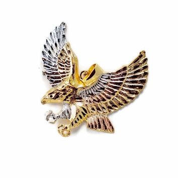 Eagle TriColor Large Gold Plated Pendant