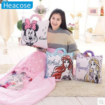 Crystal soft plush Cushion Blanket cartoon mouse Anime Princess Home Decorative Pillows Travel Car Waist Cushion Blankets Quilt