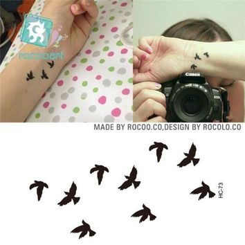 ac DCCKO2Q Rocooart HC1073 Women Sexy Finger Wrist Flash Fake Tattoo Stickers Liberty Small Birds Fly Waterproof Temporary Tattoos Sticker