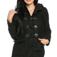 Hooded Long Sleeve Toggle Coat in Black