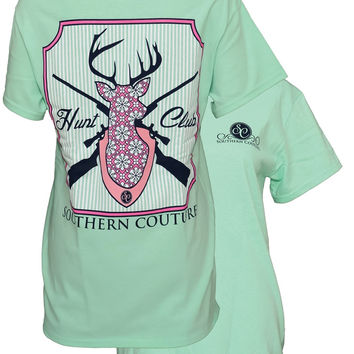 Southern Couture Country Preppy Hunt Club Deer Mint Girlie Bright Comfort Colors T-Shirt