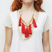 CHAOS 2 / Pom pom & tassel necklace