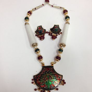 Rajasthani Meenakari Necklace With Earrings/Indian jewelry / ethnic jewelry