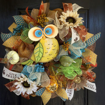 Fall Owl Wreath, Fall deco mesh wreath, Sunflower wreath, Fall mesh wreath, Front door wreath, Owl mesh wreath