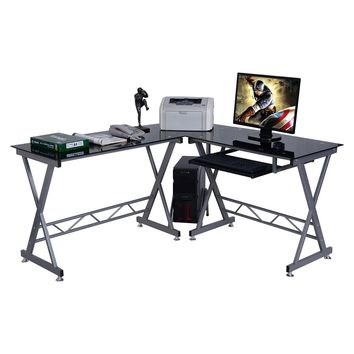L-Shape Computer Desk PC Glass Top Laptop Table Workstation Corner Home Office