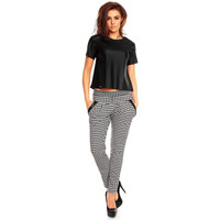 Skinny Fit Pants With Wide Waist Band And Leather LAVELIQ