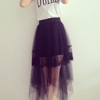Black Irregular Hem Mesh and Lace Asymmetrical Skirt