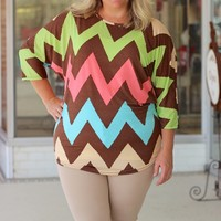 Mocha Chevron Colorful Dolman Tunic Top ~ Sizes 12-18