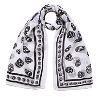 LING/50*160cm Women Fashion Scarf,European And American Style Black white Skull Heads Chiffon Scarf,Holiday Floral Scarf#10303