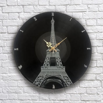 Paris Eiffel Tower painted retro vinyl clock