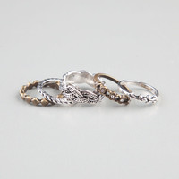 FULL TILT 5 Piece Braid/Stone/Etched Rings | Rings