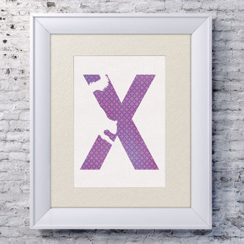 5x7 Alphabet Print 'X is for Xerus' - Animal Name Art - Xerus Art - Baby Alphabet Print - Letter X - Zoo Animal Print - Xerus Print