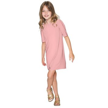 Pink Blush Beige Coral Cute A-line Shift Casual Party Dress - Girls