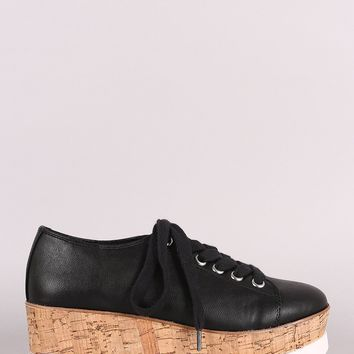 Lug Sole Lace Up Oxford Platform Wedge