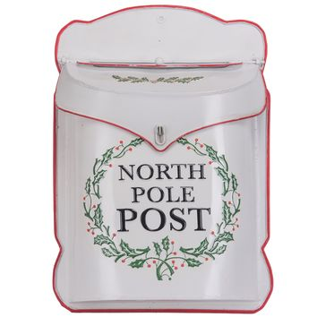 North Pole Post Metal Decorative Christmas Mailbox White -- 10-1/2-in