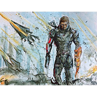 "Commander Shepard Mass Effect Video Game Character Watercolor 11 x 14"" Print"