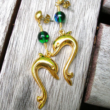 Dolphin Earrings - Gold Tone - Dolphin Jewelry - Fish Earrings