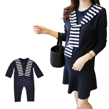 Maternity Nursing Dress Baby Romper Set Spring Family Matching Outfits Korean Fashion Mother Daughter Son Clothes for Family