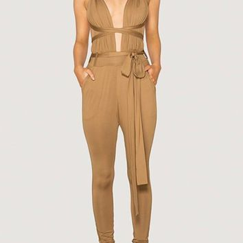 Khaki Cross Back Pockets Drawstring Waist Long Jumpsuit