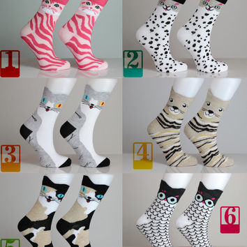 Kitty Socks Cat Socks Colorful Dotted Animal Lover Pussycat Striped Love Socks Girls Socks Women Socks Funny Sock Animal Socks Cute Fun Sock