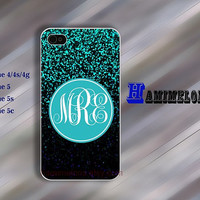 iphone 5c case iphone 5 case iphoen 5s case IPhone 4 case Special design Monogram blue sparkly Hard case Rubber case iphone 4 cover 210
