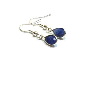 Sterling Silver Faceted Blue Sapphire Earrings