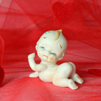 50s 60s Crying Kewpie figurine. Ivory bisque porcelain hand painted. Vintage collectible. Valentines gift. Baby shower gift.