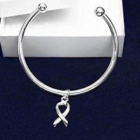 Silver Ribbon Bracelet- Bangle w/ Floating Ribbon Charm for Autism Awareness