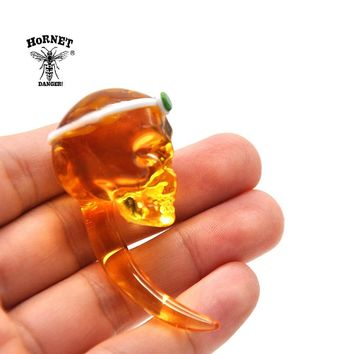 HORNET Crystal Skull Shape Glass Carb Cap Dabber Wax Oil Tool 2.36 Inch Handle Oil Wax Cavers Tool Water Pipe Accessories