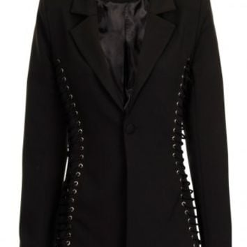 Black Lace Up Side Blazer - from Lavish Alice UK