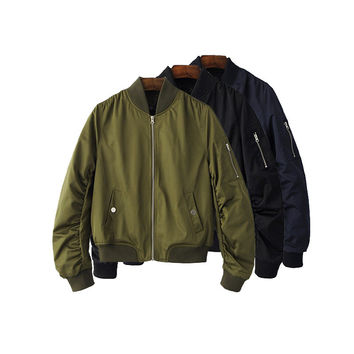 Retro Vintage Thin Solid Candy Color Bomber Jacket Celebrity Popluar Outwear