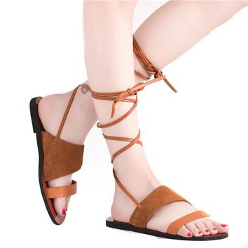Gladiator Genuine Leather Sandals Women Flat Hot Sale Fashion Summer Sweet Women Flats Heel Sandals Ladies Shoes