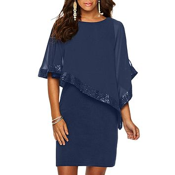 Navy Blue Sequined Poncho Mini Dress