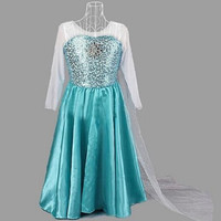 Frozen Princess Dresses Blue Elsa Dresses With White Lace Wape Girls New Fashion Frozen Dresses in Stock 1pcs/lot